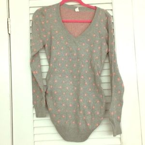 Maternity grey and pink polka dots v neck sweater